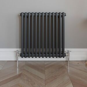 Traditional Colosseum Horizontal Double Bar Radiator 600 x 600mm Anthracite NDT