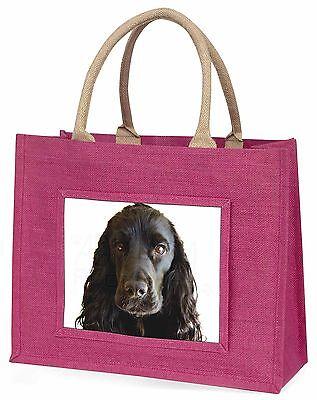 Schwarze Cocker Spaniel Hund Große Rosa Einkaufstasche Weihnachtsgeschenk