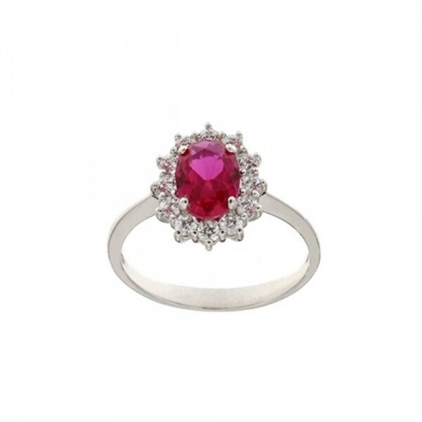 White gold 18k 750 1000 light red stone and white cubic zirconia woman ring