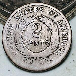 1864 Two Cent Piece 2C Ungraded Civil War Era Worn Date US Copper Coin CC6945