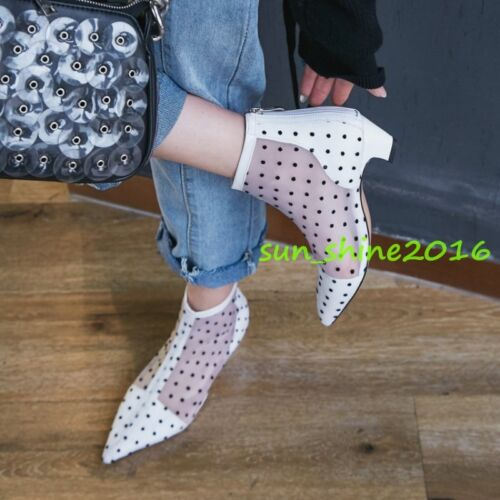 Femme Bottines Respirant Fermeture Éclair Spot Bout Pointu Chaussures formelles Chaton Talon