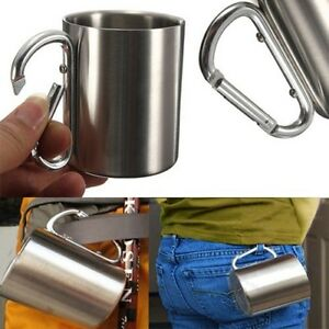 Stainless-Steel-Coffee-Mug-Camp-Camping-Cup-Carabiner-Hook-Double-Wall-220ML