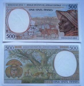 REPUBLICA-AFRICA-CENTRAL-500-francos-1999-P-301-Ff-Letra-F-Plancha-UNC