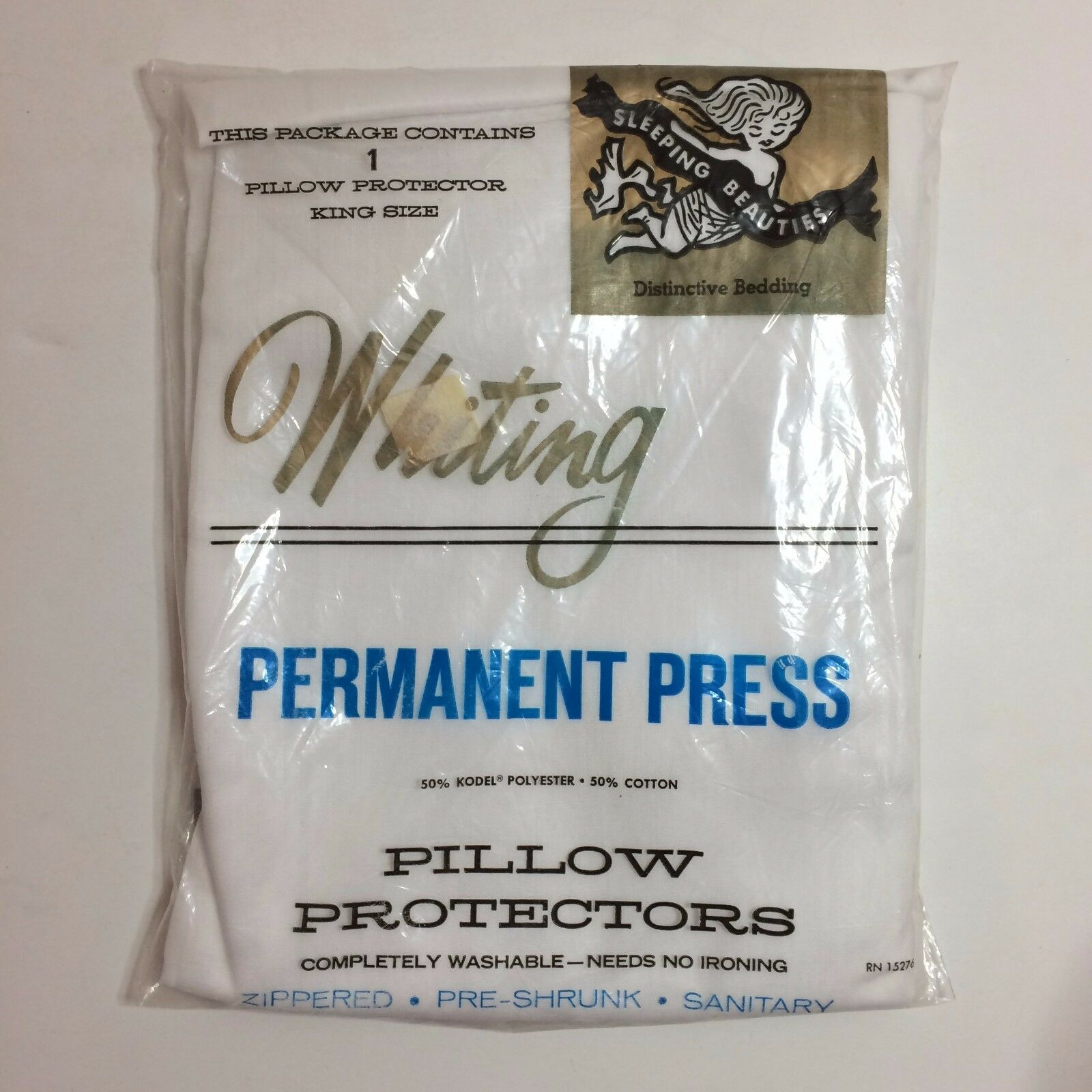 1 Whiting Permanent Press Pillow Predector - Zippered - Sleeping Beauties - NEW
