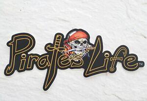 "Medium PIRATE'S LIFE brand Skull Bumper Sticker 7.5"" x 4"" Vinyl Decal"