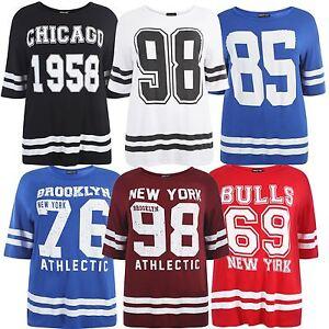 42f1fb5fe849e New Womens Plus Size Varsity Stripe Baggy T-Shirts Oversize Tops 12 ...