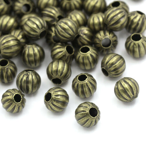 "200PCs Metal Spacer HOT Beads Pumpkin Round Ball Bronze Tone 6mm 2//8/"" Dia."