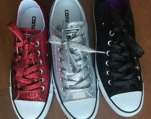 Red Silver Glitter Or Black Sequin Converse All Star