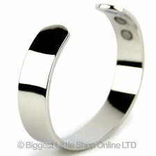Mens Chunky Magnetic Chrome Plated Copper Cuff  Bracelet Magnet Healing 6 MAGNET
