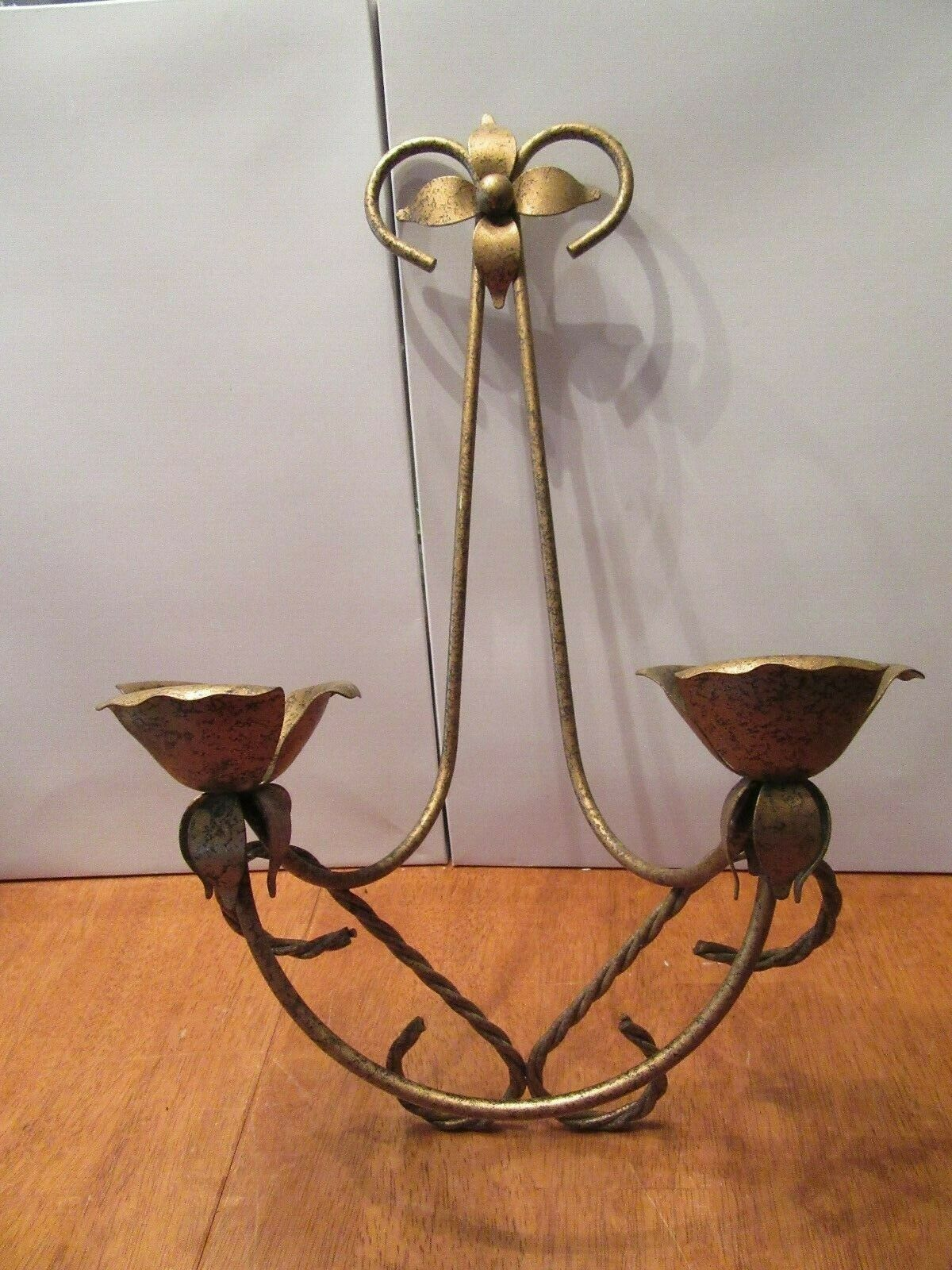 Vintage Wood Gold Tone Metal Leaf Double Candle Holder Wall Sconce For Sale Ebay