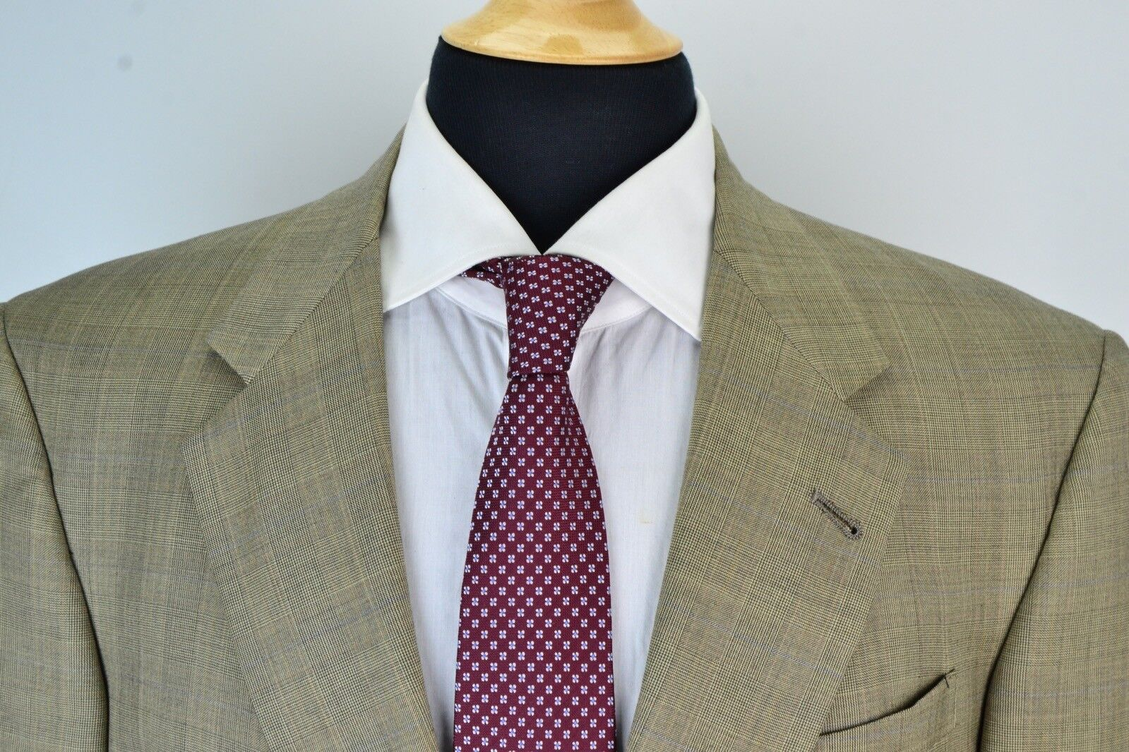Hart Schaffner & Marx Gold Trumpeter Light Braun Blau Plaid Wool 2 Pc Suit 41R