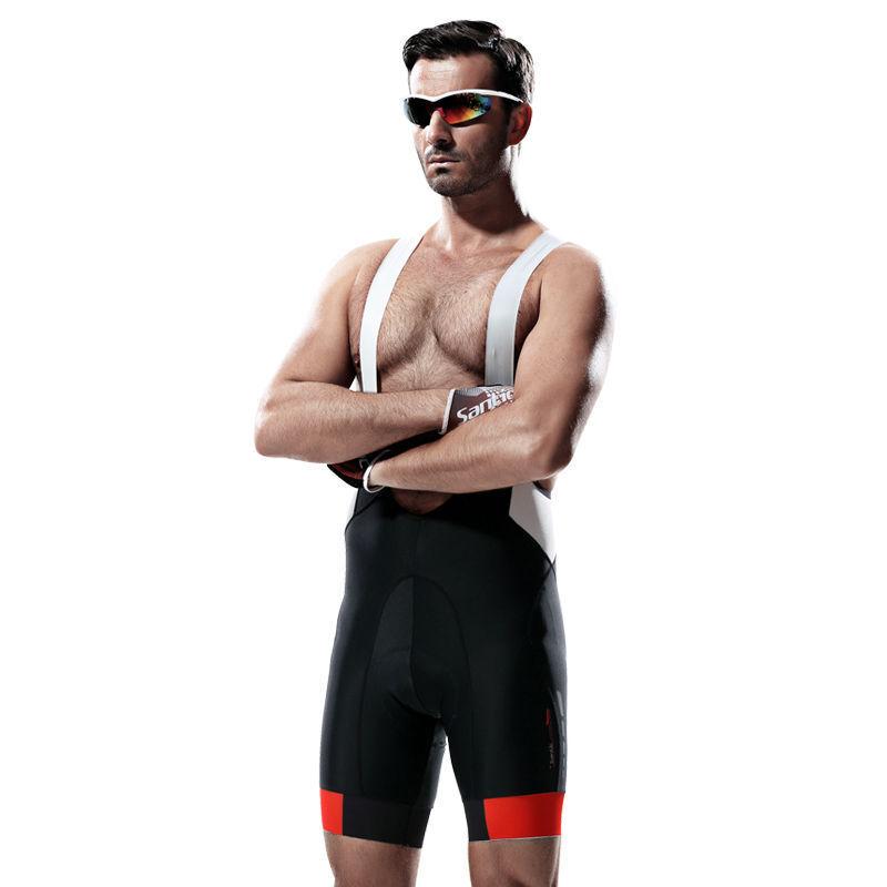 SANTIC ciclismo Mono Pantalones cortos para hombres pantalones para ciclismo Baberos Negro blancoo-Chaser