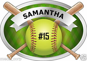 5-034-Customized-Softball-with-Bats-Decal-Great-for-windows-and-lockers