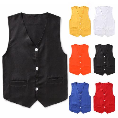 Vest Waistcoat Boys Button Down Coat Costume Wedding Gentleman 6 Colors