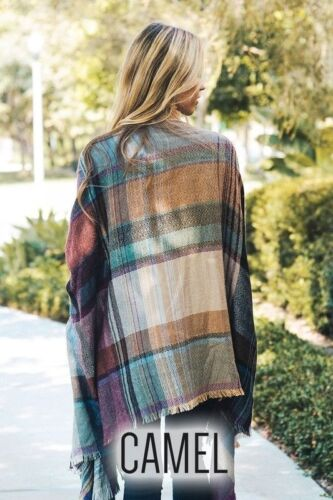 Oversized loose plaid Print Boho ruana Poncho Wrap shawl scarf Sweater