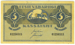 Estonia-1919-5-Marka-P-45-VF-SCARCE