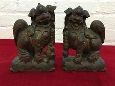 """Antique Chinese Wood Carving Foo Fu Dog Guardion Lion Animal Pair Statue 7"""""""