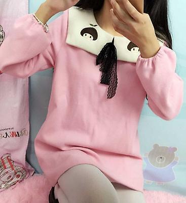 Harajuku Girl's Embroidery  Amo Lovely Lolita Dress Pink Blue Long Sleeves Dess