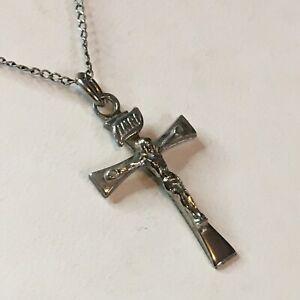 "Sterling Silver 925 BLI Crucifix Cross 18"" Necklace"
