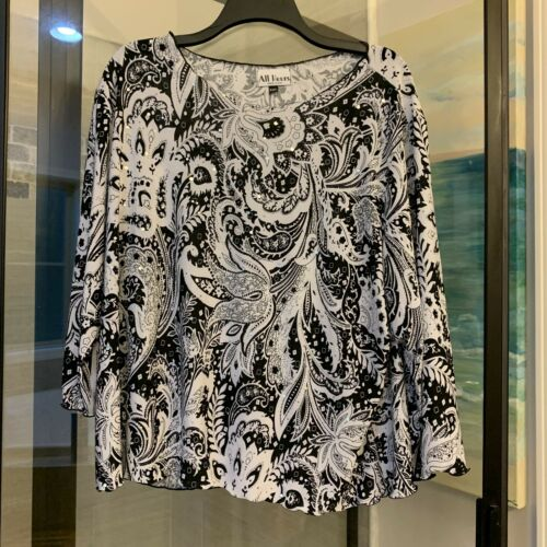 All Hours Women's Tunic Top Blouse B&W Paisley w/M