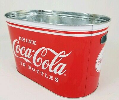 Coca-Cola Galvanized Beverage Bucket Red and Black Ombre with Bottle Handle