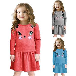 37bfcec22a1 Kids Girls Long Sleeve Cartoon Cat Pleated Dress Casual T-shirt ...