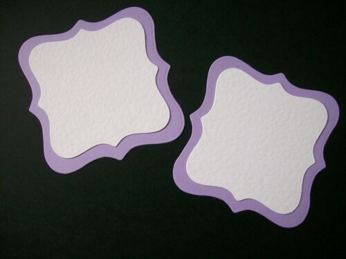 6 LARGE /& 6 SMALL lilac white square plaque die cuts LAYERING
