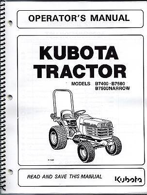 Kubota B7400  B7500 Tractor Operator Manual 6C120-63113