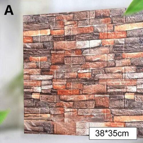 10pcs 3D Tile Brick Wall Sticker Self-adhesive Waterproof Foam Panel Wallpaper L
