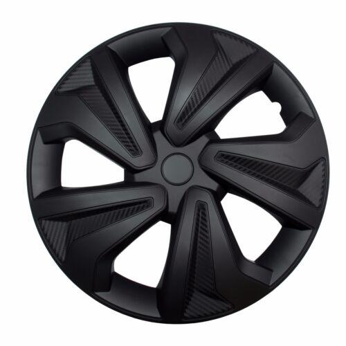 """VW 4x Enjoliveurs Noir de Carbone 15 /"""" Pouces Voiture Enjoliveurs Noir BMW Audi"""