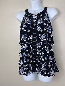 White House Black Market Sleeveless Floral Blouse Small Lace Up Tank Top Shirt