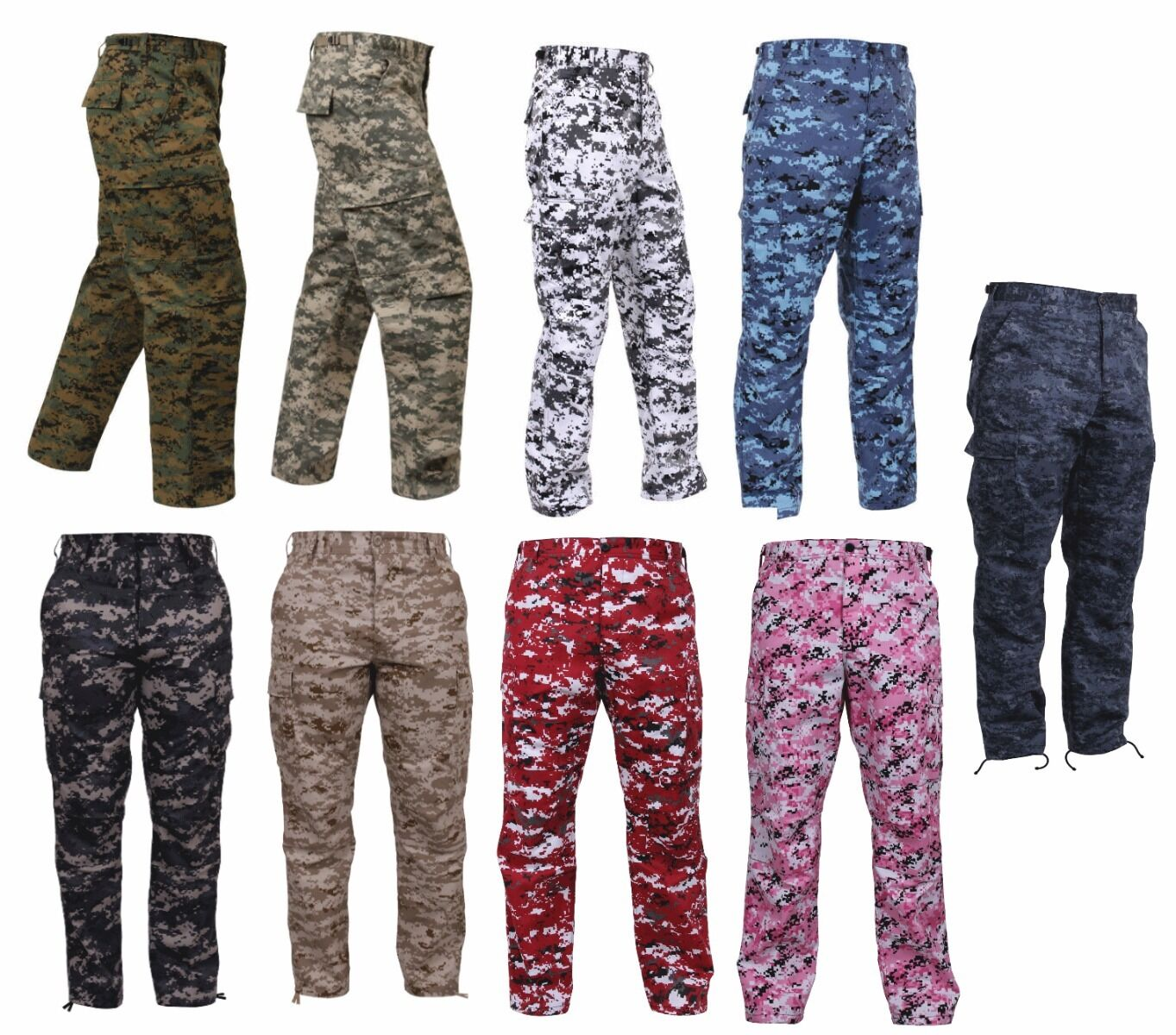 BDU Pants Digitial Camouflage Military Cargo Fatigue redhco