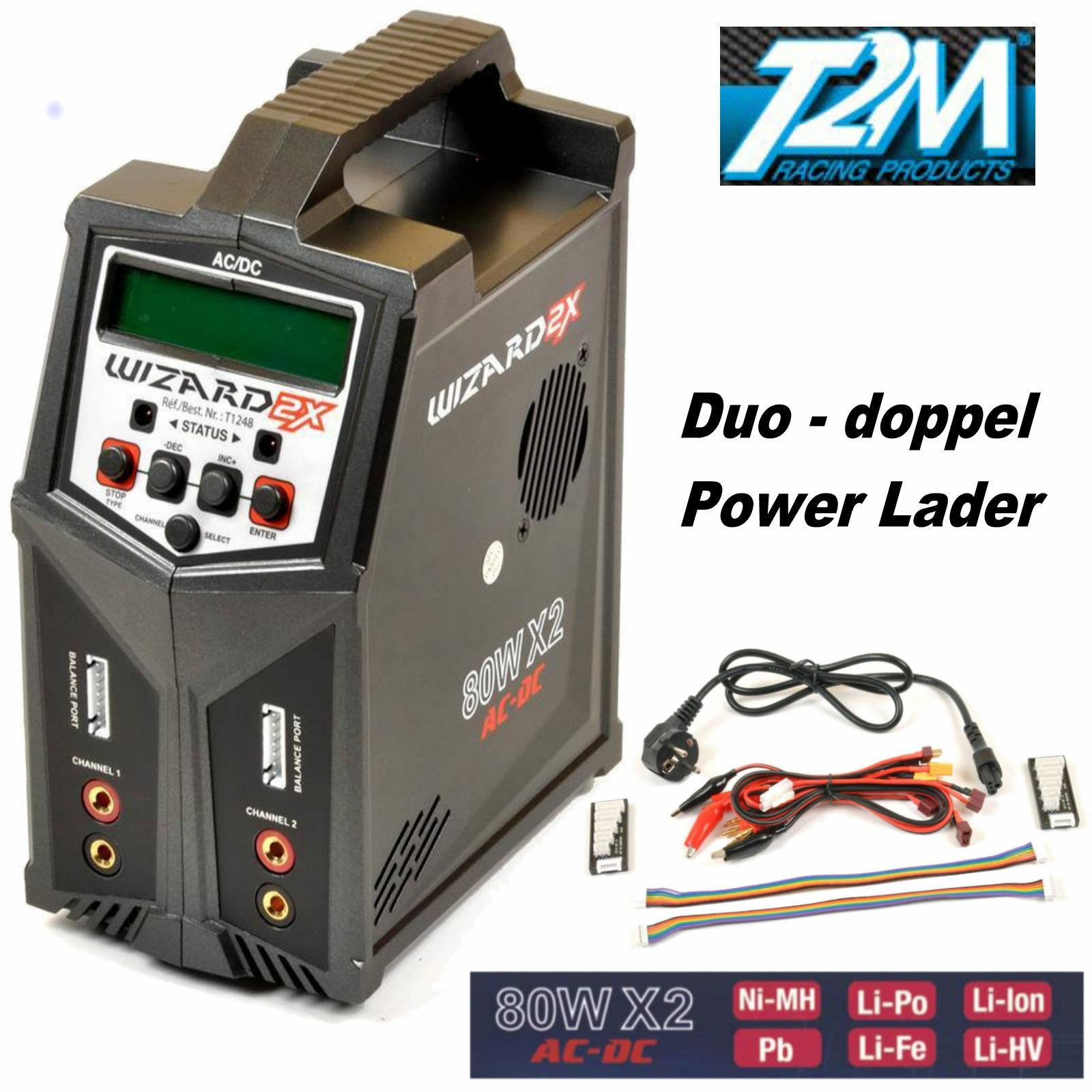 T2M Wizard X2 Power Ladegerät 80 Duo AC-DC 2 x 80 Watt T1248  DAS ORGINAL
