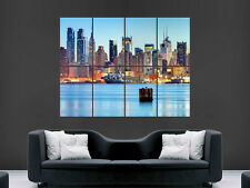 MANHATTAN NEW YORK SKYLINE HUDSON RIVER LARGE WALL PICTURE POSTER GIANT HUGE ART