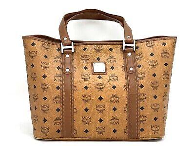 MCM Visetos Shopper Tasche Schultertasche Bag Cognac Logo