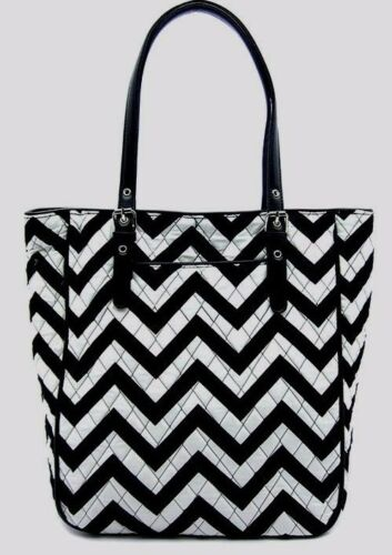 Cotton Quilted Chevron Print Fashion Design Large Tote Handbag GRAY BLACK