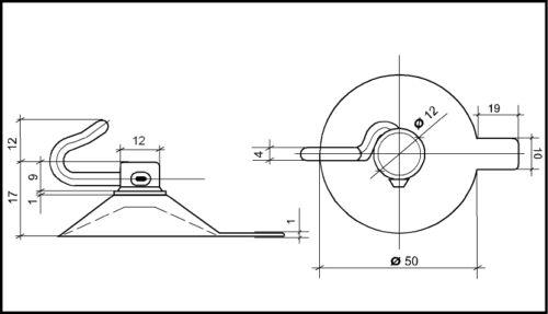 Saugnäpfe 12St Saugnapf 50 mm mit beweglichem Polycarbonat-Haken /& Abhebezunge