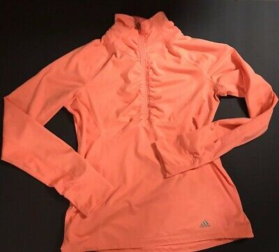 Charitable Adidas Orange 1/2 Zip Pullover Jacket Running Fitness Top M Nourishing Blood And Adjusting Spirit Activewear