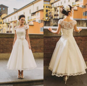 New-Cap-sleeve-Lace-Tulle-Tea-Length-Wedding-Formal-Bridal-Gown-Party-Dress