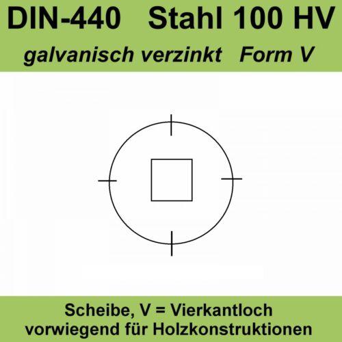DIN 440 V 6,6 Unterlegscheiben Holzbauscheiben Vierkantloch verzinkt M6 20-500St
