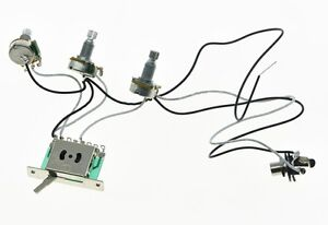 guitar prewired wiring harness alpha 500k mini pots 1 volume 2 tone 5 way switch ebay. Black Bedroom Furniture Sets. Home Design Ideas