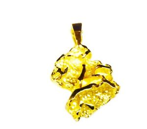 14k Yellow Gold NUGGET design fashion charm Pendant 4 grams