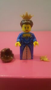 NEW Lego Female Princess Minifig DARK BROWN QUEEN HAIR Braid w//Blue Tiara Crown