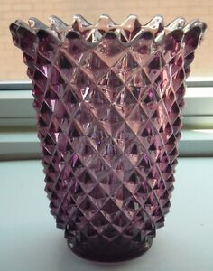Imperial Glass Vase Purple Amethyst Diamond Pattern Saw Tooth Rim Signed Ebay
