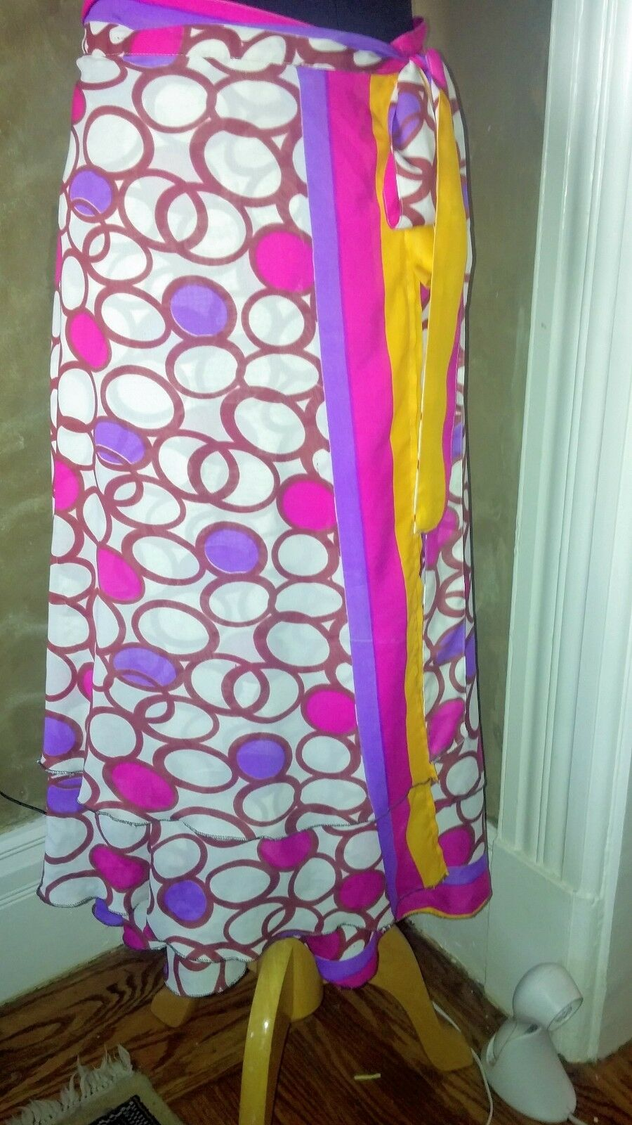 Kimaya Multicolor Multi-wear Wrap Knee-length Skirt Size M