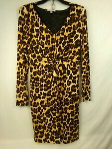Jennifer-Lopez-Dress-Cheetah-Print-Brown-Tan-Size-Small-Gilde-Glamour-Lined