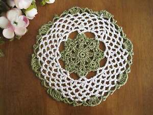 Lovely Hand Crochet Floral Cotton Doily GREEN 20CM