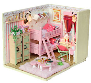 Dollhouse-miniature-kit-My-Little-Buddies-PINK-BLUE-M006-w-Light-amp-Cover