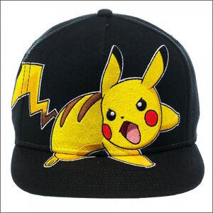 Image is loading Nintendo-Pokemon-Pikachu-Snapback-Baseball-Cap-Hat-Black- ed1d60035202