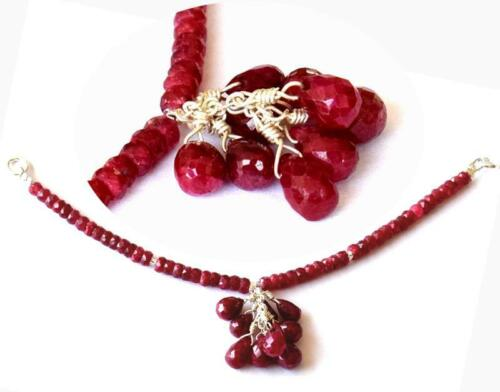 Natural Ruby Beads brignolette Solid 925 Silver Jump Rings #D16603 pour Collier